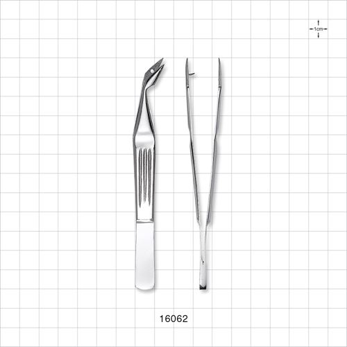 Single-Use Angled Splinter Tweezers Forceps, Serrated Fine Tips, Mirror Finish - 16062