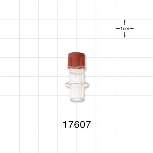 Septum Bag Port with Sealing Flange and Red Cap - 17607