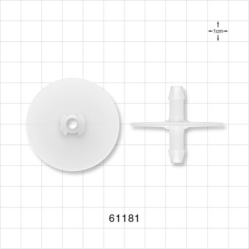 Flange with Opposable Barbs, Natural - 61181