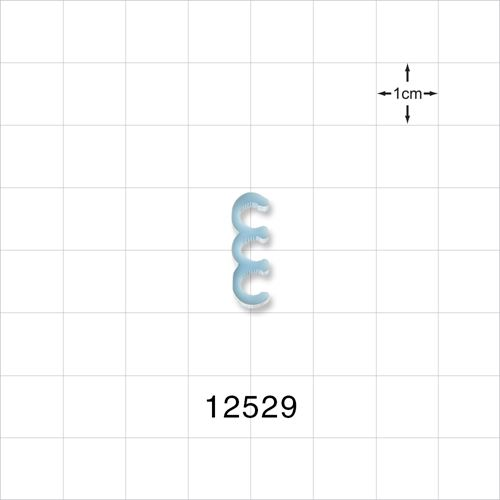 3-Channel Multi-Cavity Clip, Serrated, Light Blue - 12529