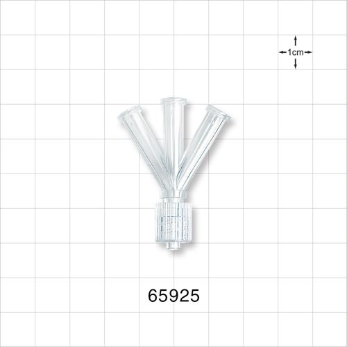4-Way Connector, 3 Female Luer Locks to 1 Male Luer with Spin Lock - 65925