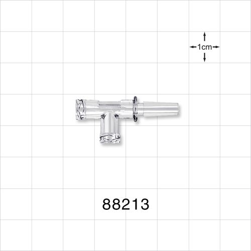 T Connector, 2 Female Luer Locks and Male Slip - 88213