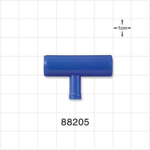 T Connector, Blue, Bottom Port Female Luer Lock - 88205