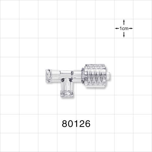 T Connector, Male Luer with Spin Lock and Two Female Luer Locks - 80126