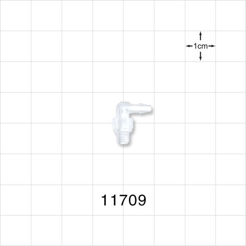 Threaded 10-32 UNF Barbed Elbow Connector - 11709