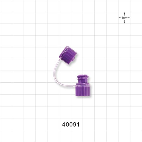 Female ENFit® Connector, Cap on Strap - 40091