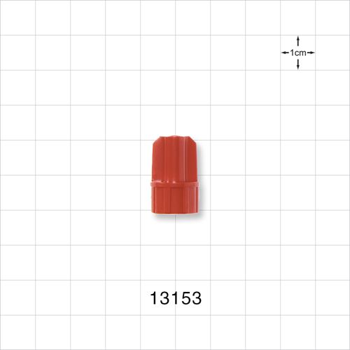 Large-Bore Male Cap, Non-Vented, Red - 13153