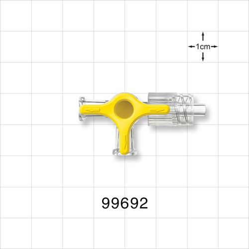 4-Way Stopcock, Yellow, 2 Female Luer Locks, Male Luer with Spin Lock - 99692