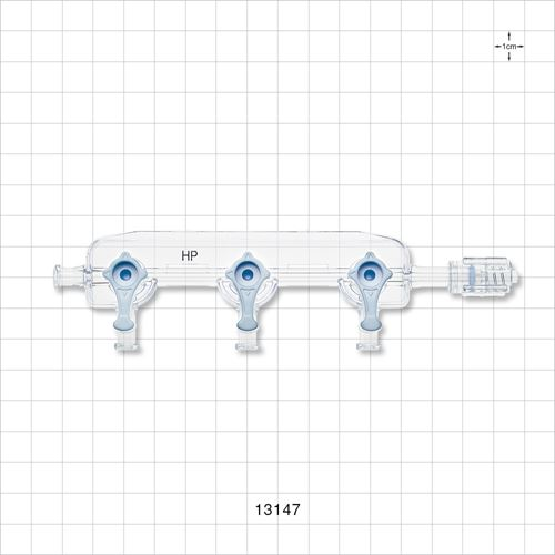 3-Gang Stopcock Manifold, 4 Female Luer Locks, Rotating Male Luer Lock - 13147