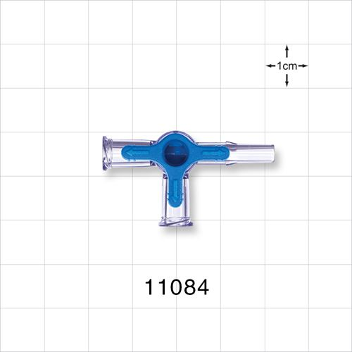 4-Way Stopcock, 2 Female Luer Locks, Male Luer Slip - 11084