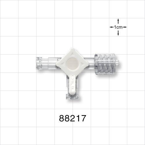 3-Way Stopcock, 2 Female Luer Locks, Swivel Male Luer Lock - 88217