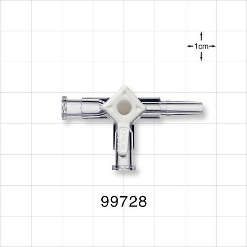 3-Way Stopcock, 2 Female Luer Locks, Male Luer Slip - 99728