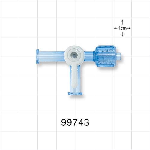 2-Way Stopcock, 2 Female Luer Locks, Swivel Male Luer Lock, 90 Degree Turn Handle - 99743