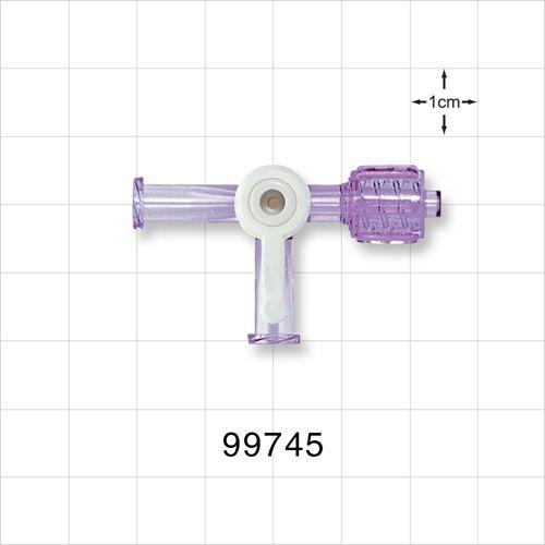 2-Way Stopcock, 2 Female Luer Locks, Swivel Male Luer Lock, 90 Degree Turn Handle - 99745