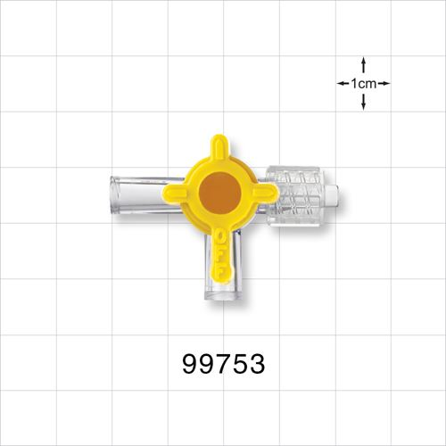 2-Way Stopcock, 2 Female Luer Locks, Swivel Male Luer Lock, 90 Degree Turn Handle - 99753
