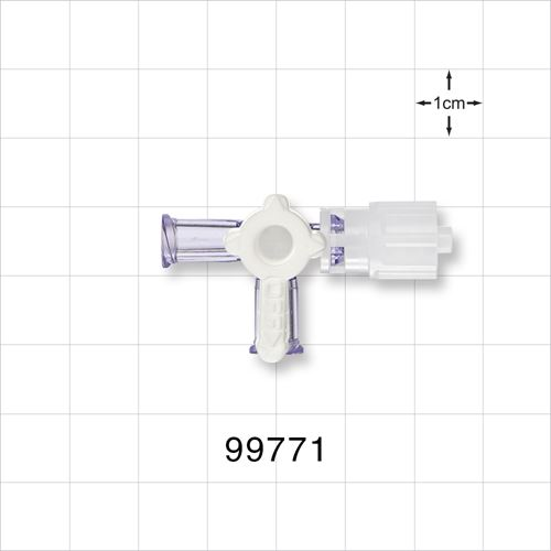 3-Way Stopcock, 2 Female Luer Locks, Rotating Male Luer Lock - 99771