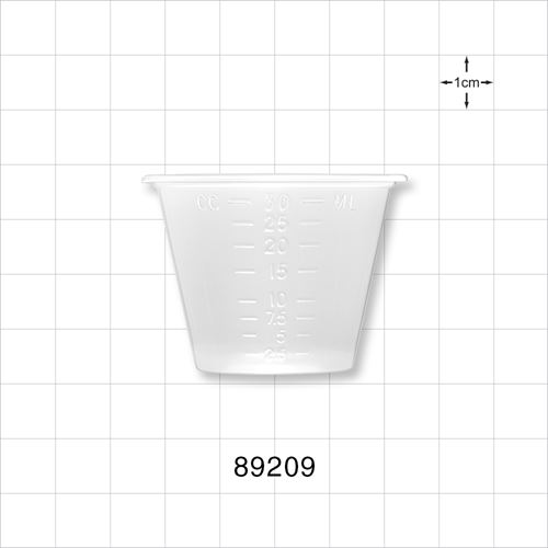 Measuring Cup with Markings for oz, ml, cc, tbs, and drams, 100 Cups/Sleeve - 89209