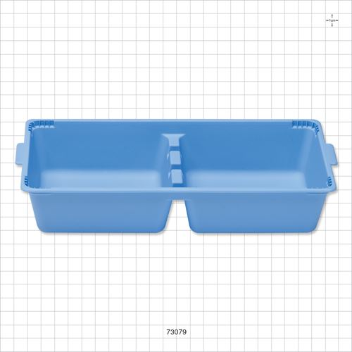 Tray, 2 Compartment, Blue - 73079