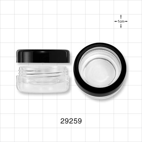 5ml Clear Double Wall Jar,Clear Cap w/Black Trim - 29259