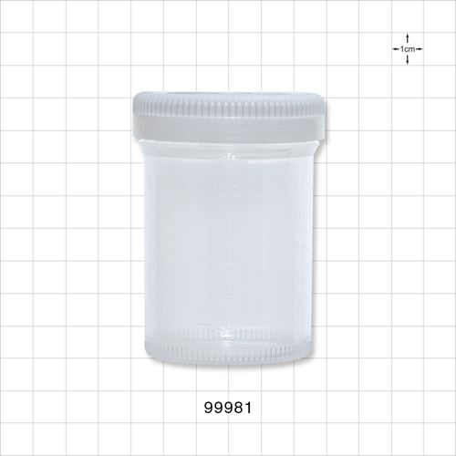 Specimen container with white cap, 300 pcs/case - 99981