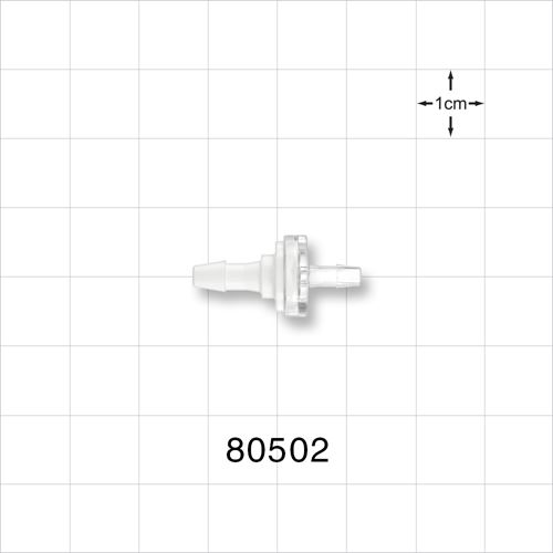 Check Valve, White Inlet, Clear Outlet, Barbed - 80502