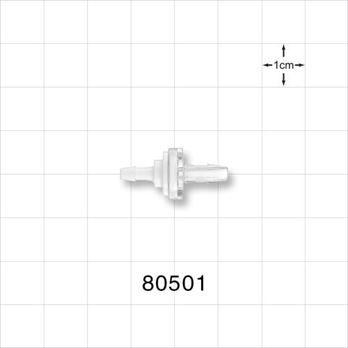 Check Valve, White Inlet, Clear Outlet, Barbed - 80501