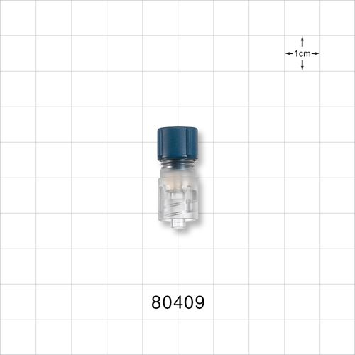 Tuohy Borst Adapter with Blue Flat Cap and Male Luer Lock Connector - 80409