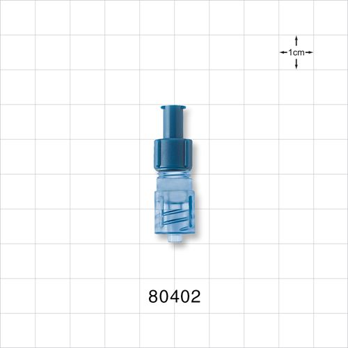 Tuohy Borst Adapter with Blue Female Luer Lock Cap and Blue Male Luer Lock Connector - 80402