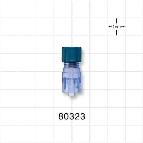 Tuohy Borst Adapter with Blue Flat Cap, Male Luer Lock Connector - 80323