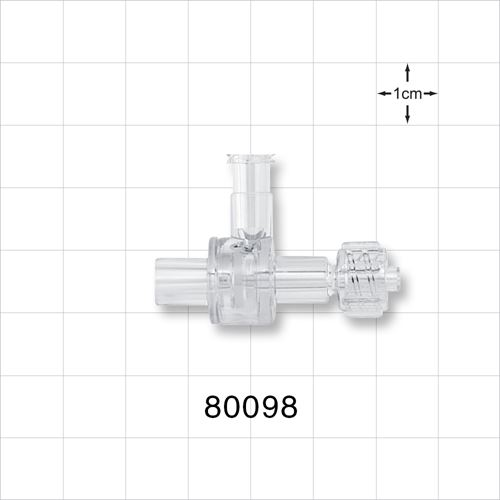 Dual Check Valve, Female Luer Lock Inlet, Male Luer Lock Outlet, Tubing Control Port - 80098