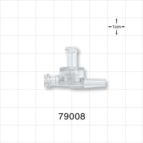 Dual Check Valve, Female Luer Lock Inlet, Tubing Port Outlet, Female Luer Lock Control Port - 79008