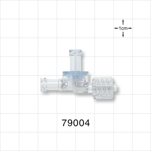 Dual Check Valve, Female Luer Lock Inlet, Male Luer Lock Outlet, Female Luer Lock Control Port - 79004