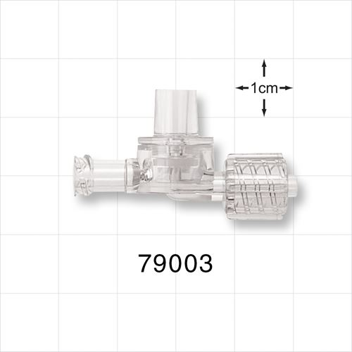 Dual Check Valve, Tubing Port Inlet, Male Luer Lock with Swivel Nut Outlet, Female Luer Lock Control Port - 79003