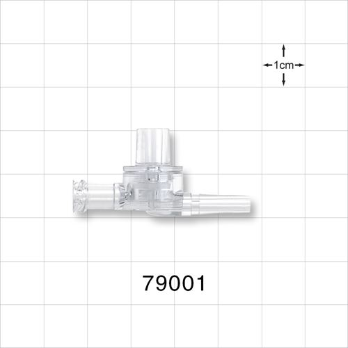 Dual Check Valve, Tubing Port Inlet, Male Luer Slip Outlet, Female Luer Lock Control Port - 79001