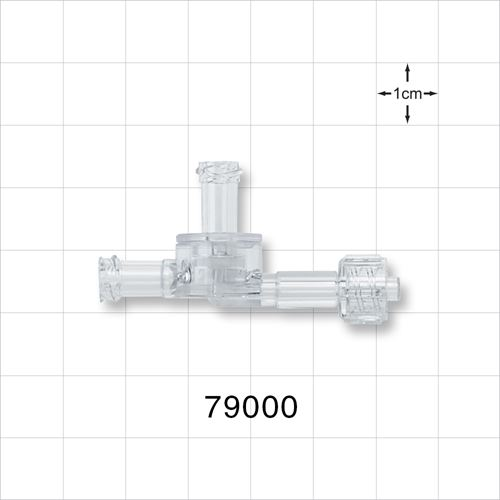 Dual Check Valve, Female Luer Lock Inlet, Male Luer Lock Outlet, Female Luer Lock Control Port - 79000