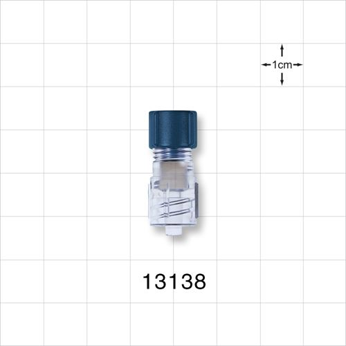 Tuohy Borst Adapter with Blue Flat Cap and Male Luer Lock Connector - 13138