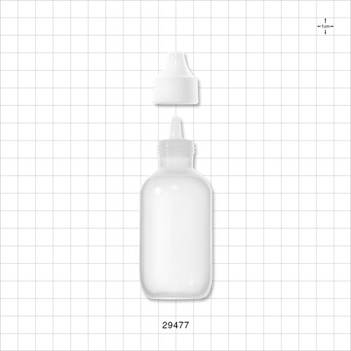 Natural Cylinder Bottle with Dropper Tip Insert and White Overcap - 29477