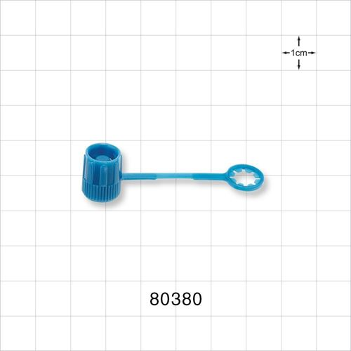 Cap, Male Luer Lock, Non-Vented, Strap with Tube End, Blue - 80380
