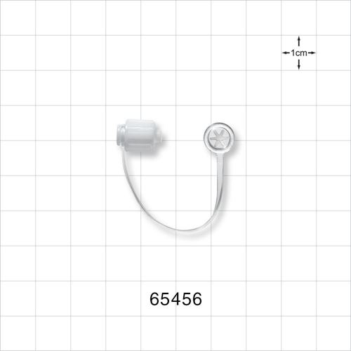 Cap, Male Luer Lock, Non-Vented, Strap with Tube End, White - 65456