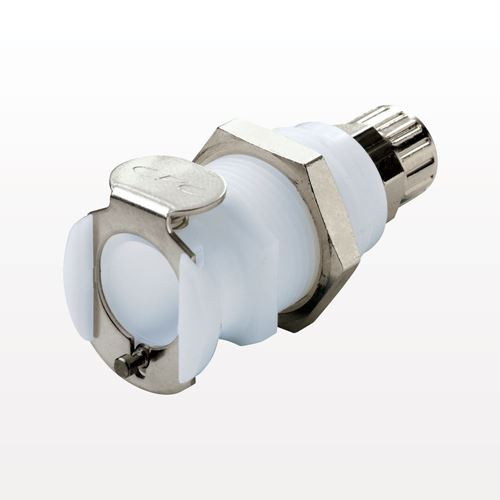 PLC Series Coupling Body, Shutoff Acetal Panel Mount Ferruleless Polytube Fitting - PLCD12004