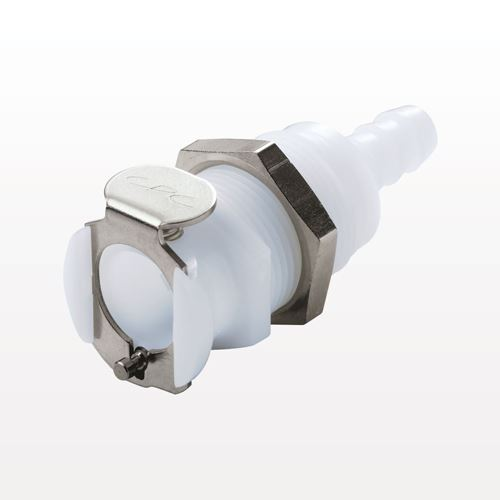 PLC Series Coupling Body, Straight Thru Acetal Panel Mount Hose Barb - PLC16006