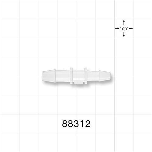 Straight Reducer Connector, Barbed, Natural; Fits 3/16 inch ID x 5/32 inch ID Tubing - 88312