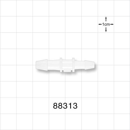 Straight Reducer Connector, Barbed, Natural; Fits 3/16 inch ID x 5/32 inch ID Tubing - 88313