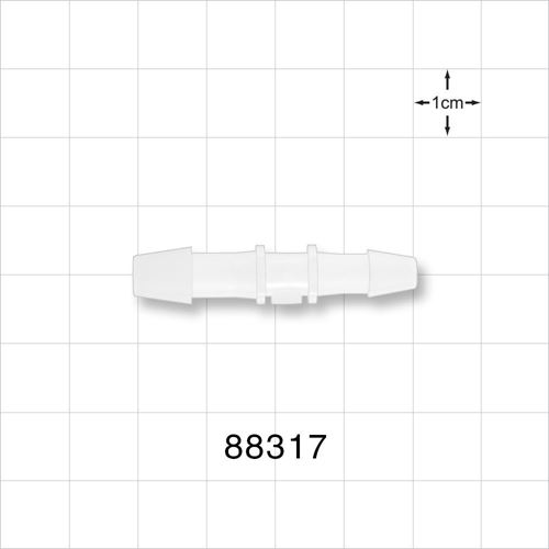 Straight Reducer Connector, Barbed, Natural; Fits 1/4 inch ID x 3/16 inch ID Tubing - 88317