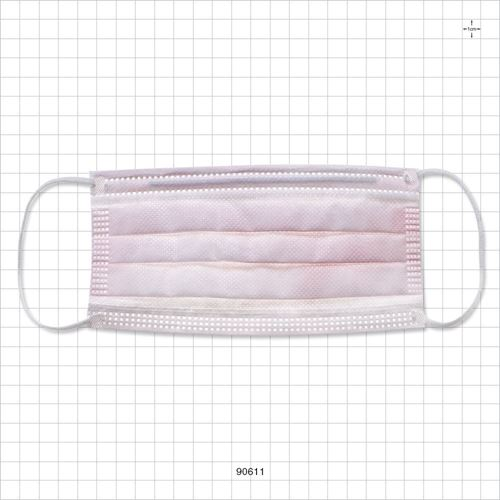 Ear Loop Mask, Extra High Filtration, Inner and Outer Fluid Resistant Layers; Breathable, Latex and Fiberglass Free, Light Pink - 90611