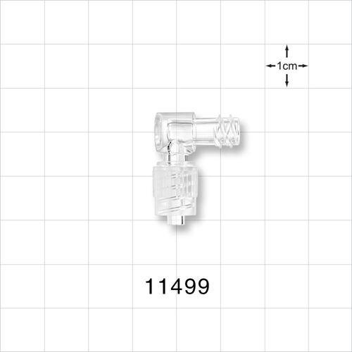Elbow Connector, Female Luer Lock, Male Luer with Spin Lock - 11499