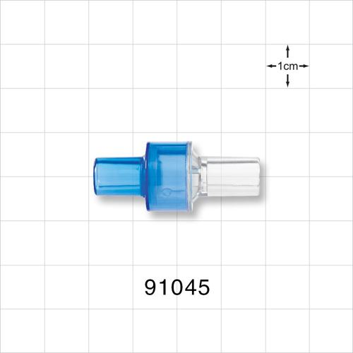 High Flow Check Valve, Blue Inlet, Clear Outlet - 91045