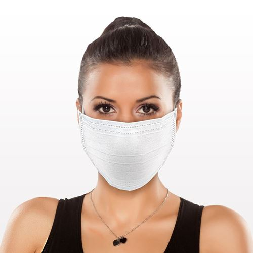 Medical-Grade, 3-Ply Ear Loop Face Mask, White - 90613