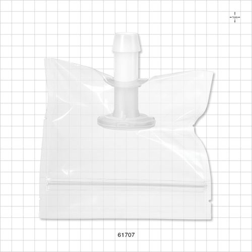 Sanitary Flange, Barbed, Natural, Pre-Attached Gasket, in Sealed Pouch - 61707